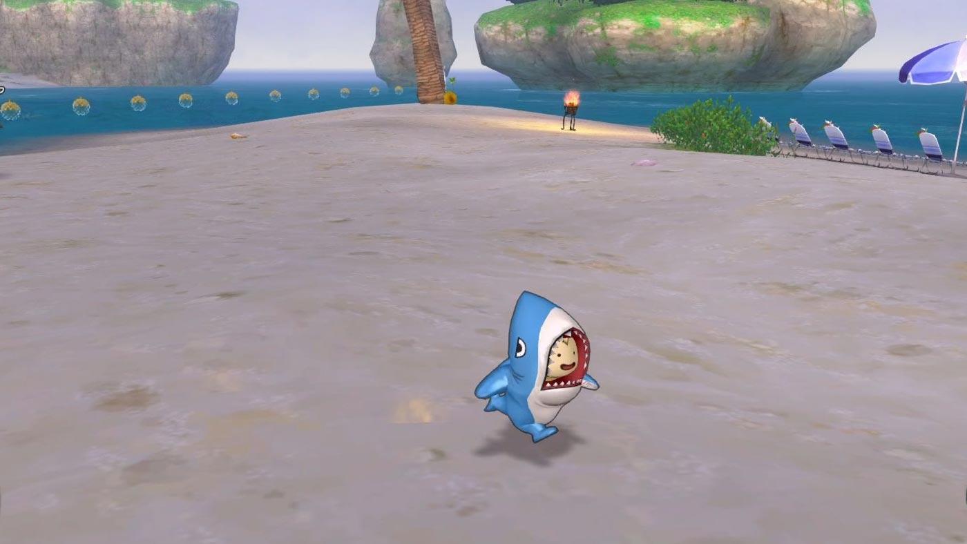 サメきぐるみ-走るプクリポ