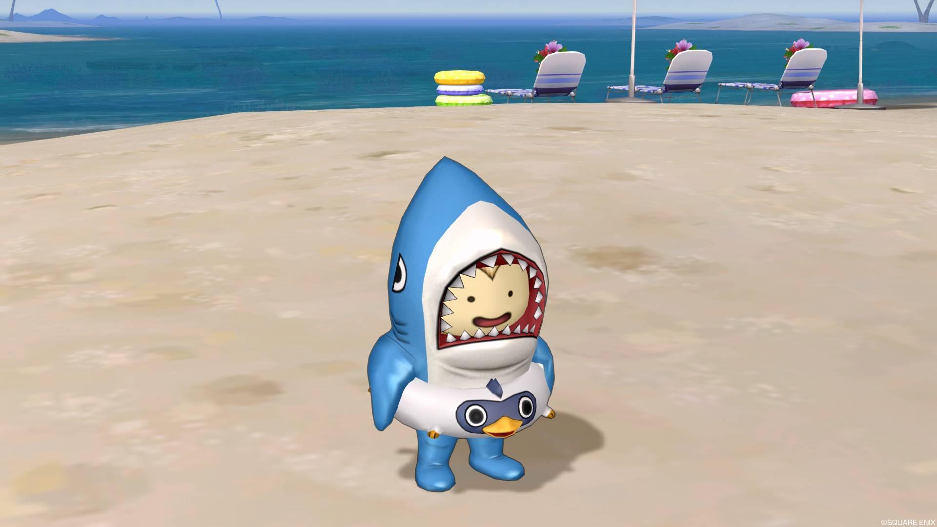 サメきぐるみ-浮き輪