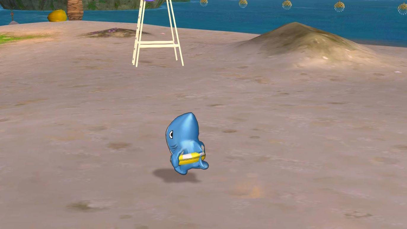 サメきぐるみ-浮き輪で走る2