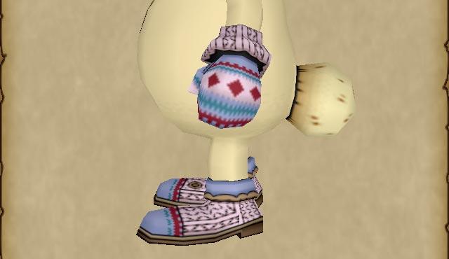 手編みのセーターセット-手袋のカラーリング箇所