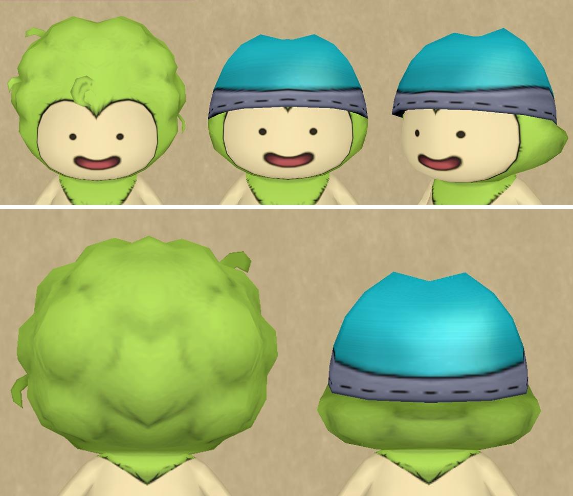 アフロのプクリポが帽子をかぶった画像