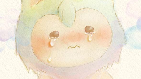 涙を流すプクリポのイラスト