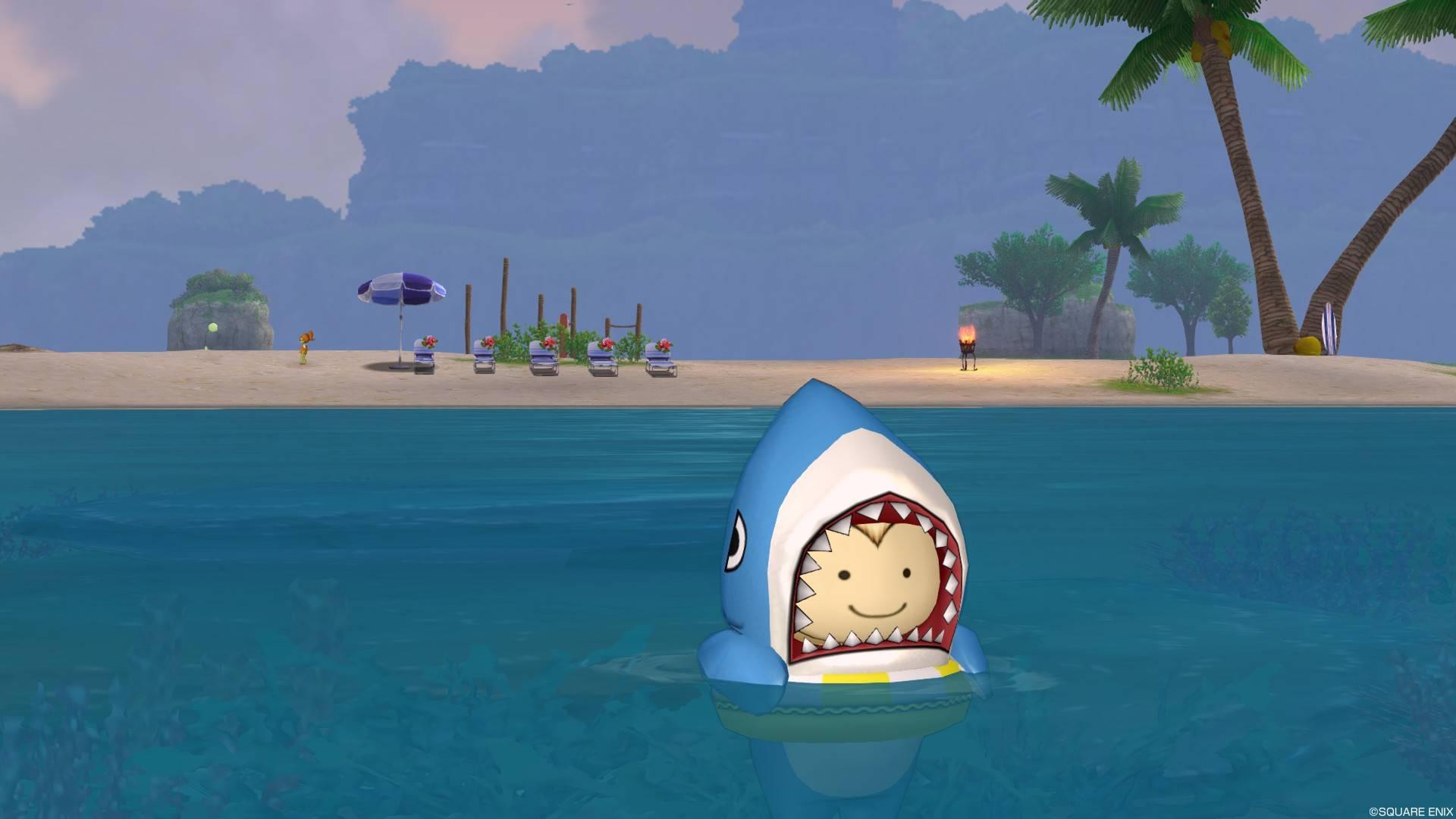 サメきぐるみ-浮き輪で泳ぐ2
