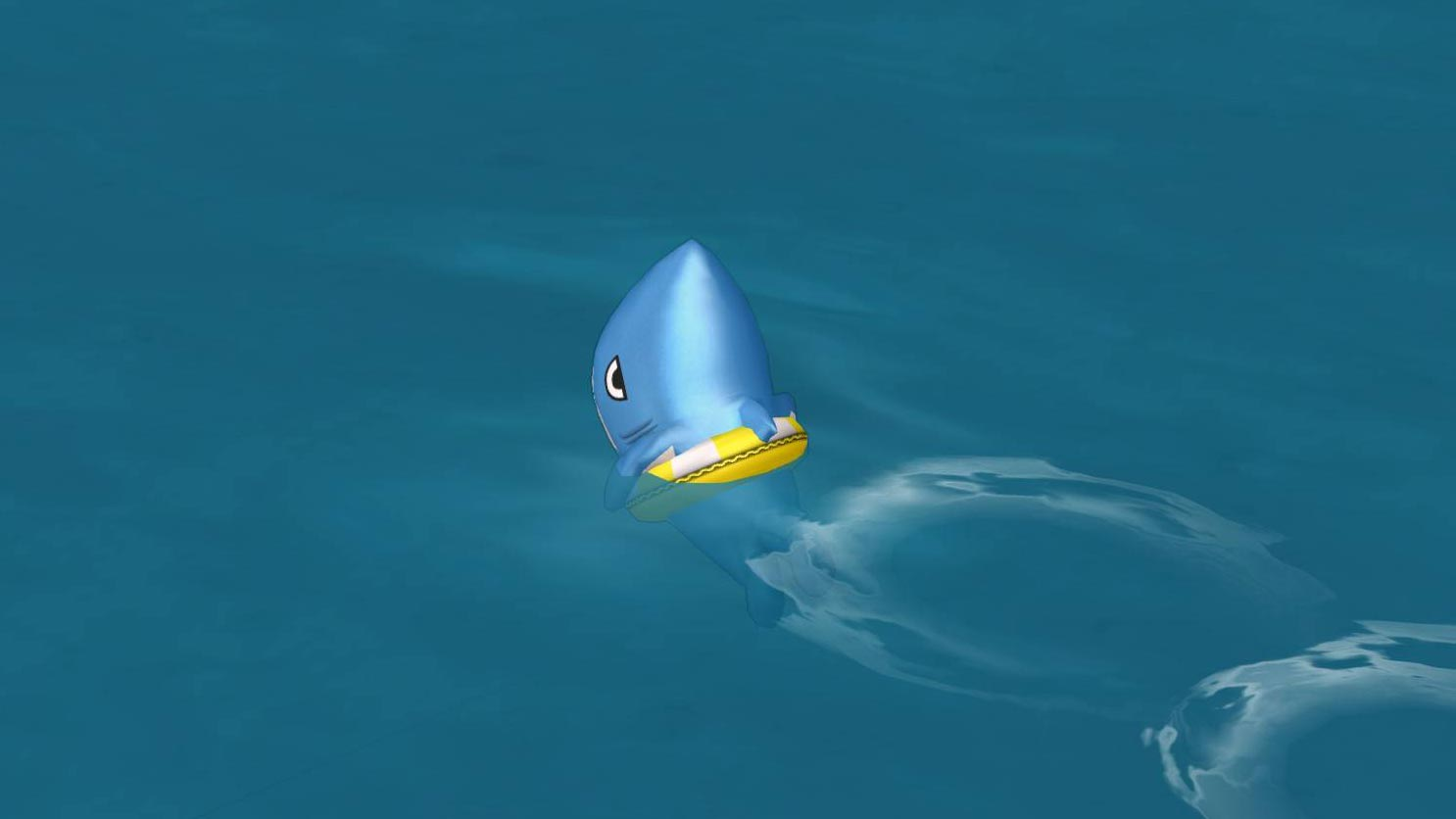 サメきぐるみ-浮き輪で泳ぐ
