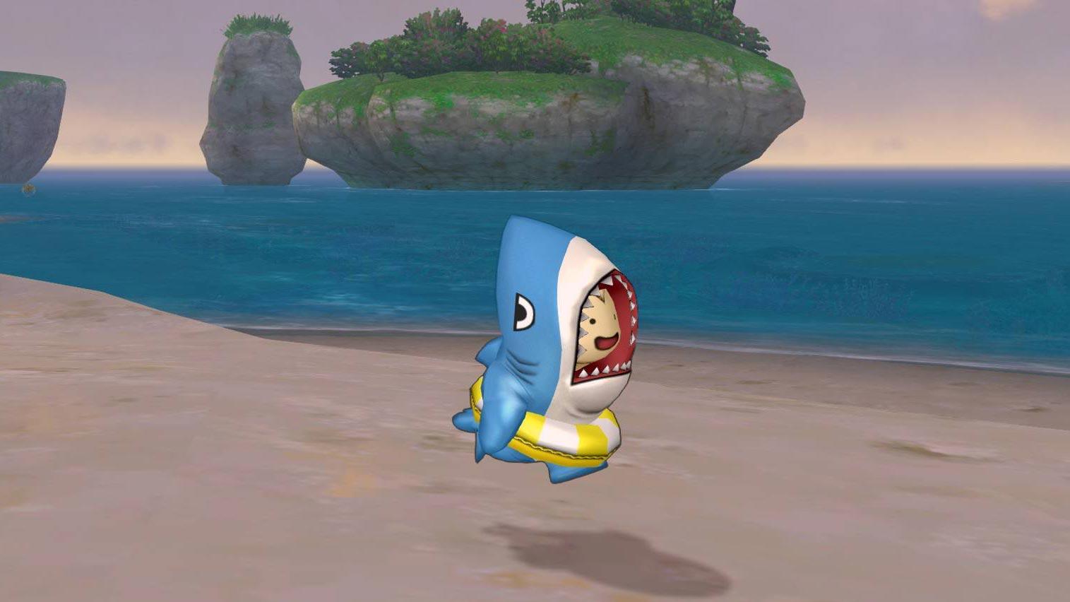 サメきぐるみ-浮き輪で走る